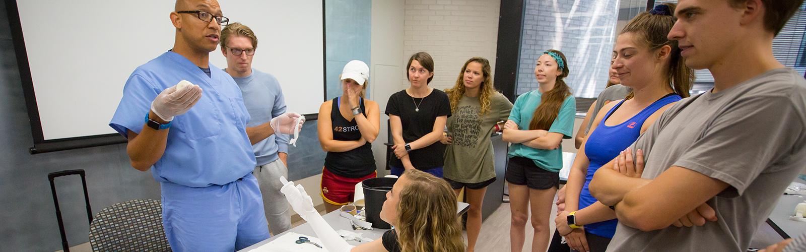 Professor teaching a casting class