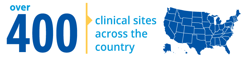Over 400 clinical sites across the country