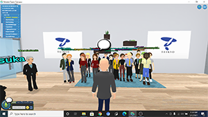 Screenshot from virtual presentation, avatar in front of others