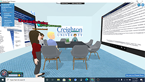 Another screenshot from virtual presentation, avatar in front of others