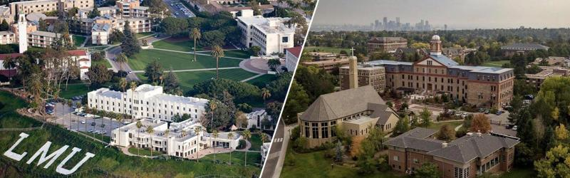 Campus views of Regis University and Loyola Marymount University