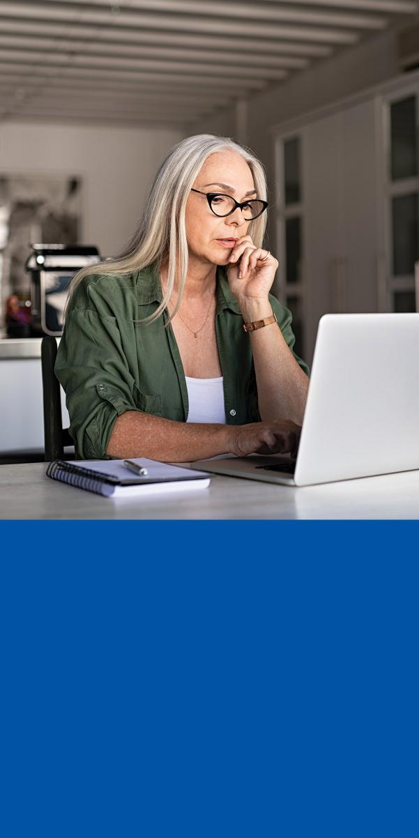 Woman learning on computer